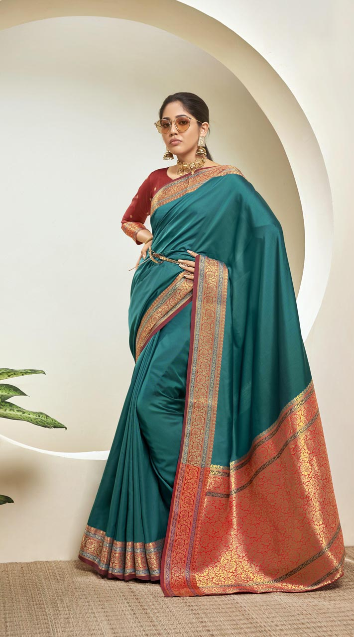 Designer Classic Party Wear Rama Silk Saree ROT9313110164