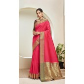Designer Classic Party Wear Pink Silk Saree ROT9313110165