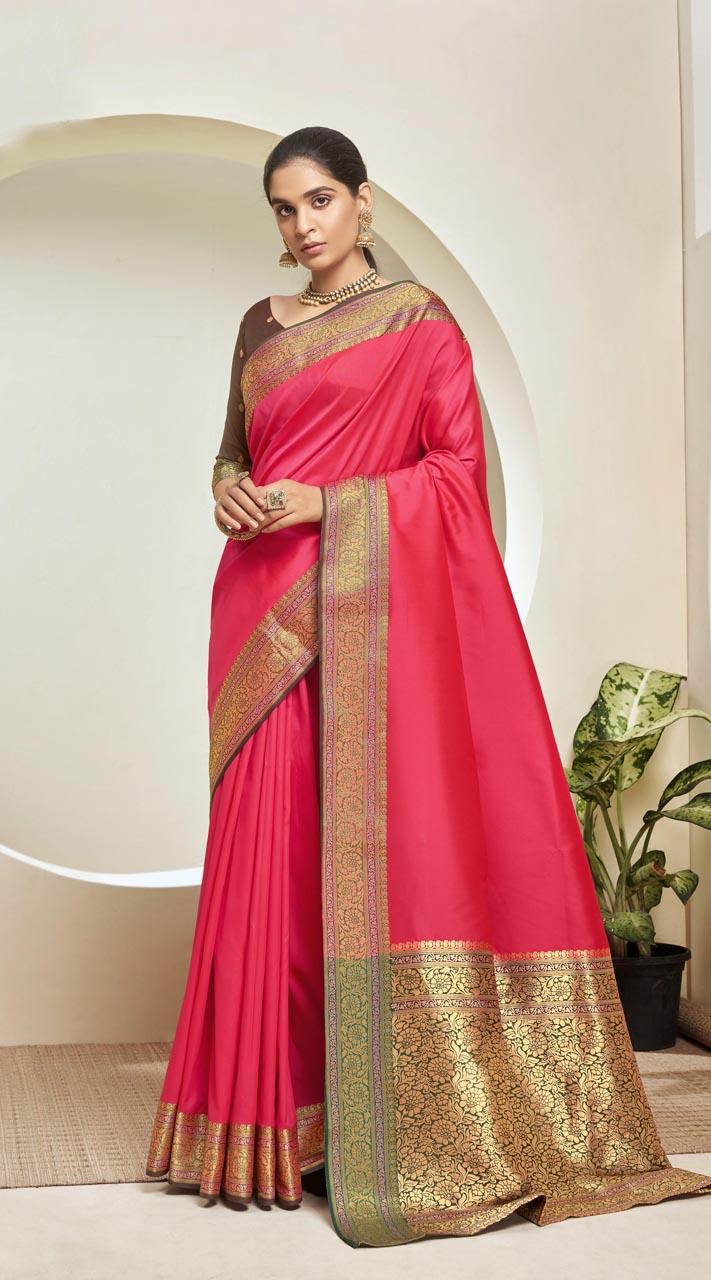 Designer Classic Party Wear Pink Silk Saree ROT9313110165