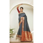 Designer Classic Party Wear Grey Silk Saree ROT9313110166
