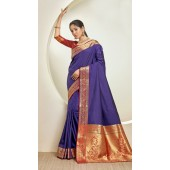 Designer Classic Party Wear Purple Silk Saree ROT9313110168