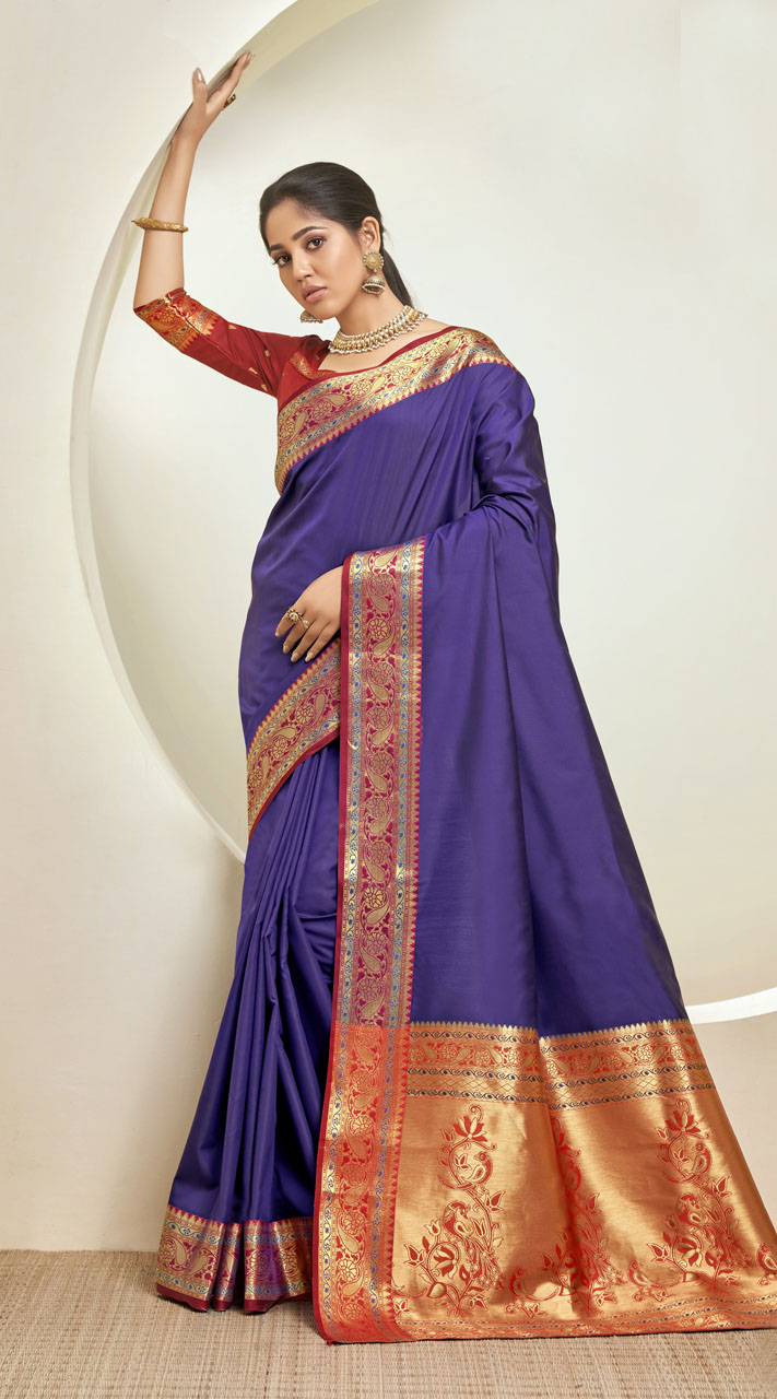 Designer Classic Party Wear Purple Silk Saree ROT9313110168