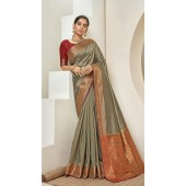 Designer Classic Party Wear Khakhi Silk Saree ROT9313110169