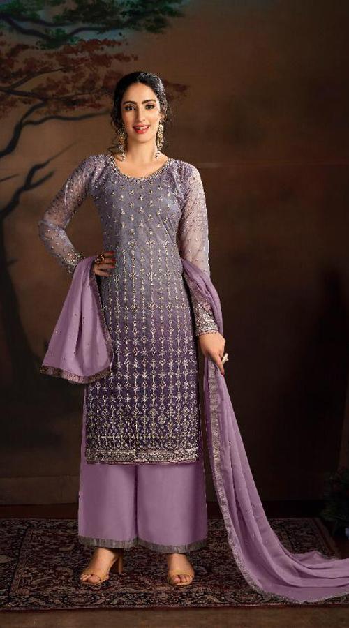 Designer party wear Butterfly Net Plazzo Suit in Light Purple color ROT9319110226