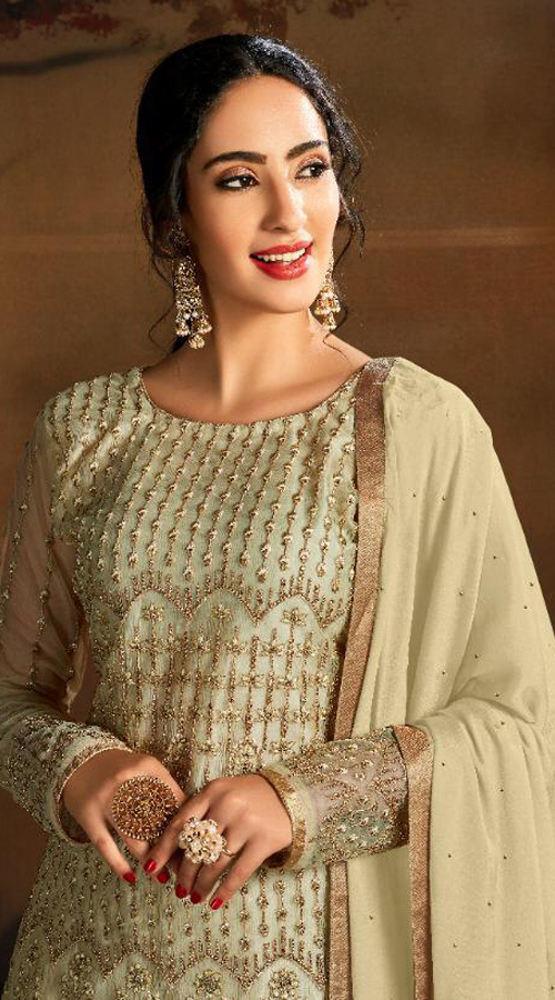 Designer party wear Butterfly Net Plazzo Suit in Light Yellow color ROT9319110227