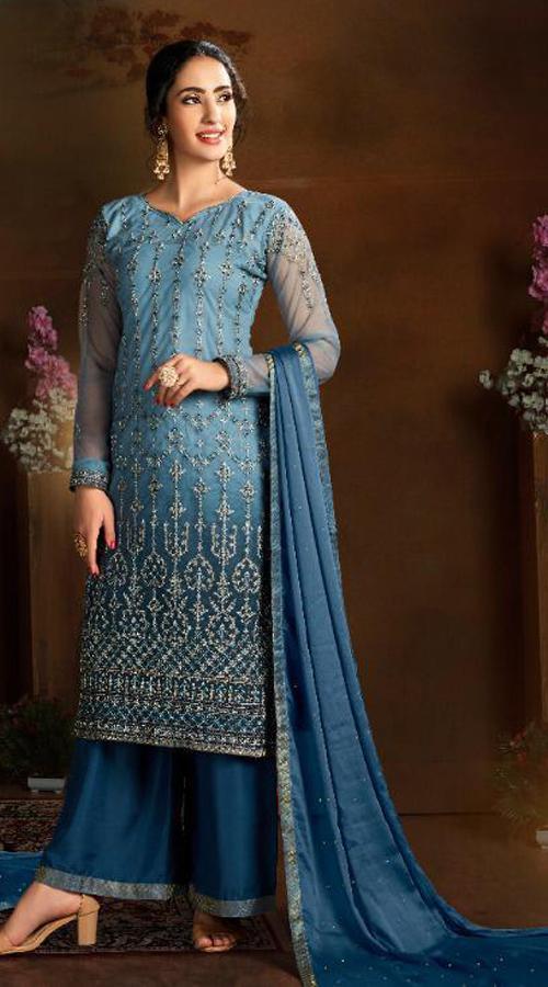 Designer party wear Butterfly Net Plazzo Suit in Blue color ROT9319110228