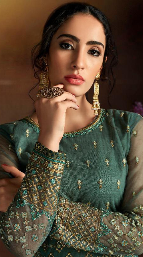Designer party wear Butterfly Net Plazzo Suit in Green color ROT9319110229