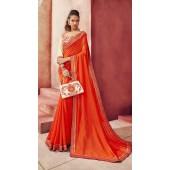 Designer Party Wear Orange Chanderi silk saree ROT9326110298