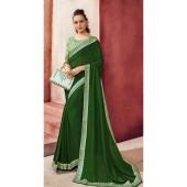 Designer Party Wear Green Chanderi silk saree ROT9326110299