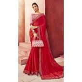 Designer Party Wear Red Chanderi silk saree ROT9326110300