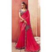 Designer Party Wear Pink Chanderi silk saree ROT9326110301