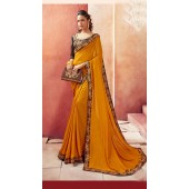 Designer Party Wear Musterd Chanderi silk saree ROT9326110302