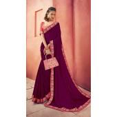 Designer Party Wear Purple Chanderi silk saree ROT9326110303