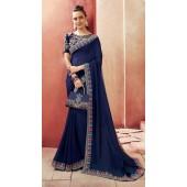 Designer Party Wear Navy Blue Chanderi silk saree ROT9326110304
