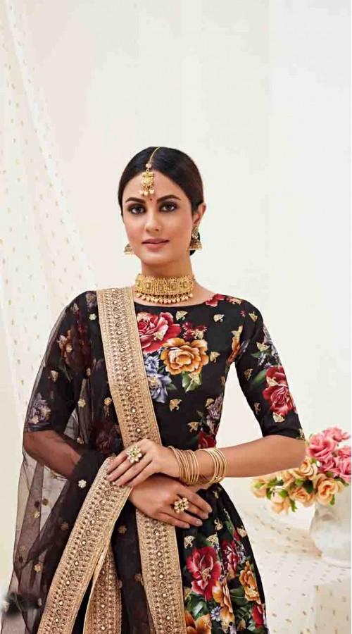 Designer Traditional wear Fancy Banglori Satin Lehenga choli in Black color ROT9369110728