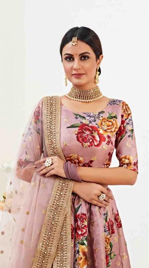 Designer Traditional wear Fancy Banglori Satin Lehenga choli in Rosy Brown color ROT9369110729