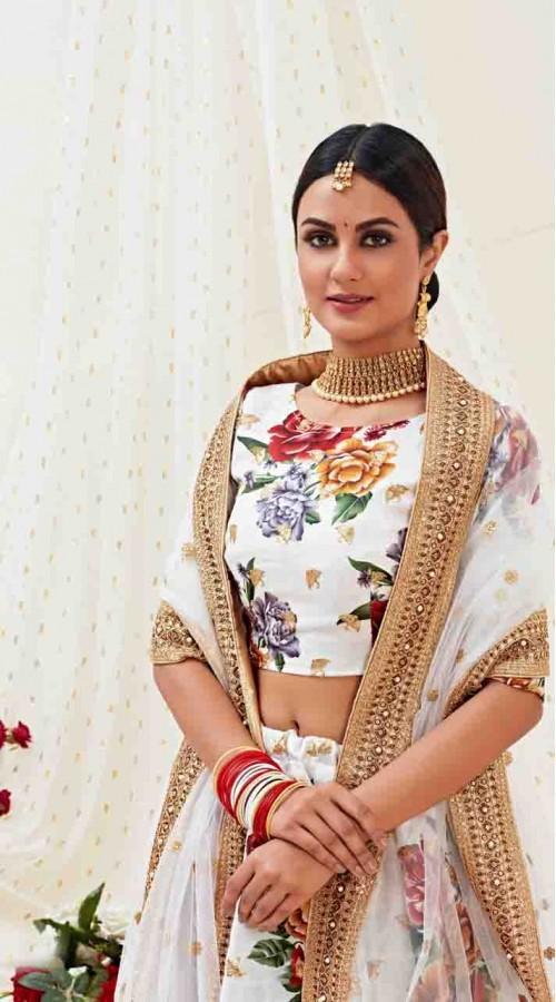 Designer Traditional wear Fancy Banglori Satin Lehenga choli in White color ROT9369110730