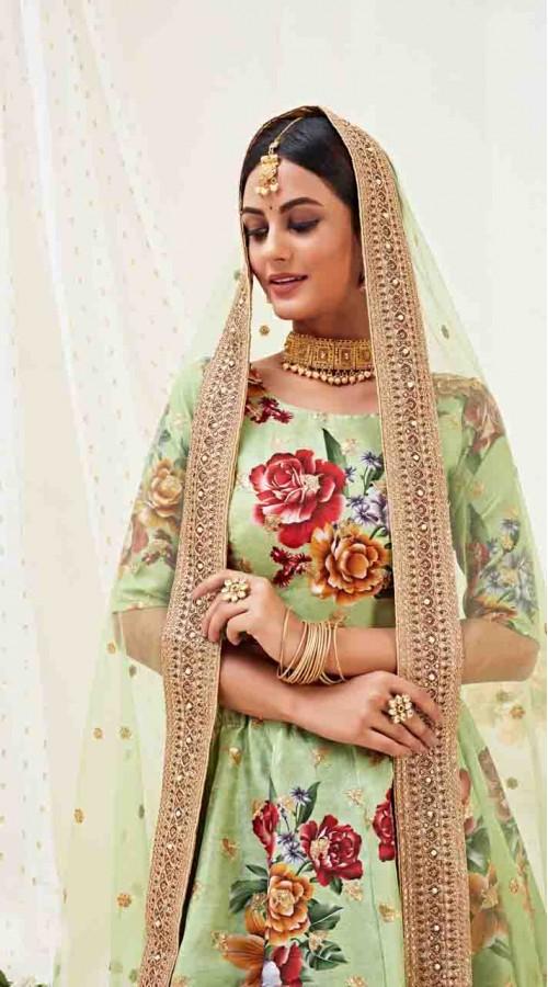 Designer Traditional wear Fancy Banglori Satin Lehenga choli in Pista Green color ROT9369110731
