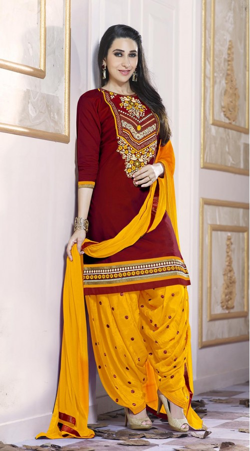 Designer party wear Cotton Satin salwar Suit in Maroon color ROT9385110827