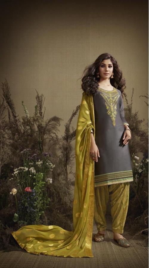 Designer party wear Cotton Satin salwar Suit in Grey color ROT9385110828