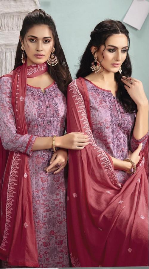 Designer party wear Cotton Satin salwar Suit in Lavender color ROT9385110830
