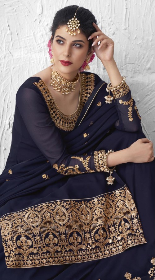 Designer Party Wear Real Georgette Lehenga suit in Navy Blue color ROT9393110879