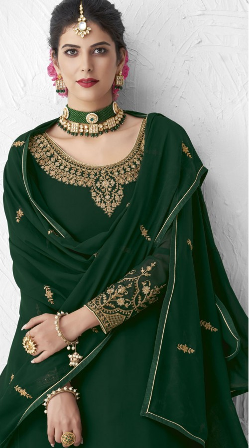 Designer Party Wear Real Georgette Lehenga suit in Green color ROT9393110881