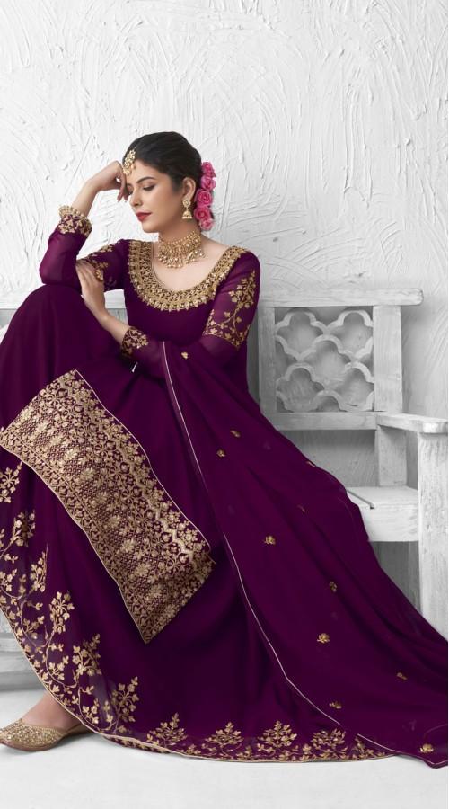 Designer Party Wear Real Georgette Lehenga suit in Purple color ROT9393110882