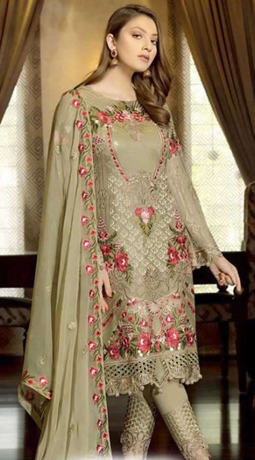 Designer Party Wear Fox Georgette Pakistani Style Suit in Sea Green color ROT9401110944
