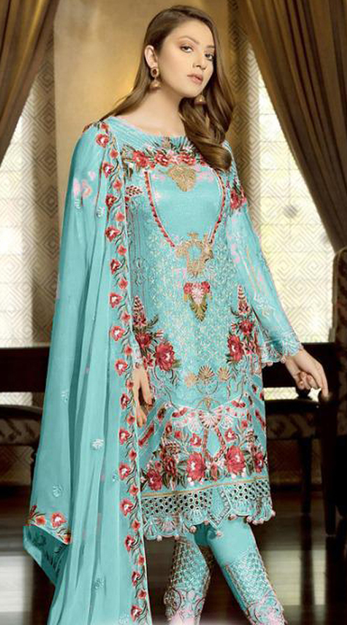 Designer Party Wear Fox Georgette Pakistani Style Suit in Sky Blue color ROT9401110945