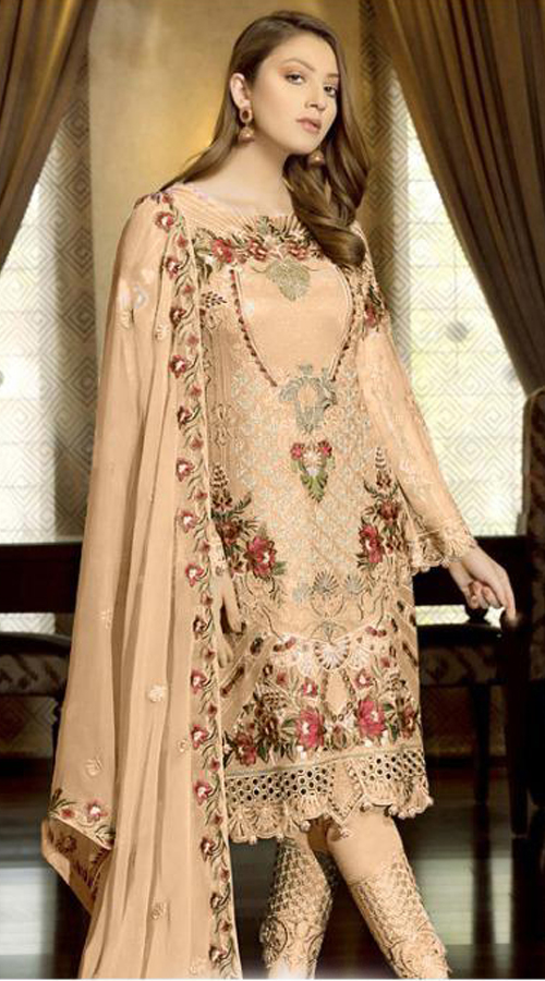 Designer Party Wear Fox Georgette Pakistani Style Suit in Cream color ROT9401110946