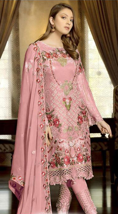 Designer Party Wear Fox Georgette Pakistani Style Suit in Light Pink color ROT9401110947