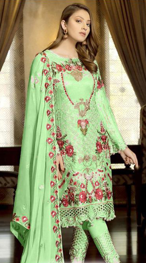 Designer Party Wear Fox Georgette Pakistani Style Suit in Light Green color ROT9401110948
