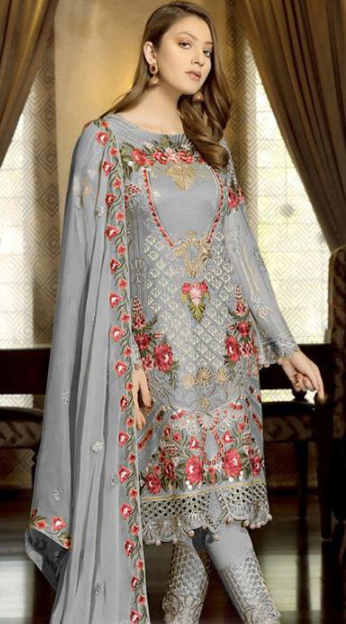 Designer Party Wear Fox Georgette Pakistani Style Suit in Off White color ROT9401110949
