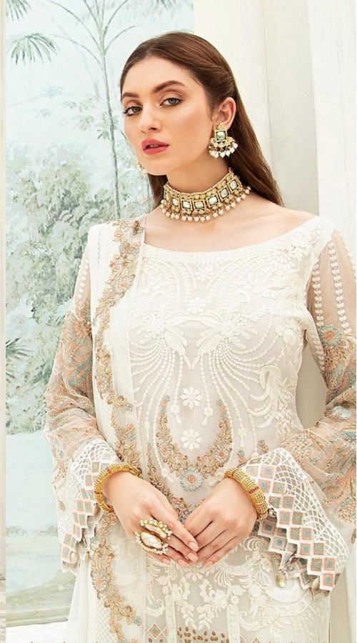 Designer Party wear Georgette Pakistani suit in white color ROT9430111183