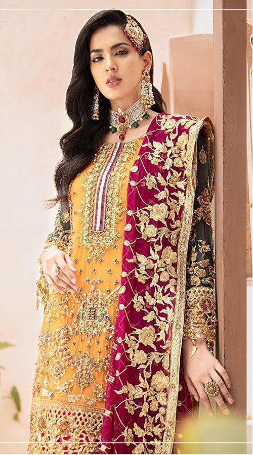 Designer Party wear Georgette Pakistani suit in Musterd color ROT9430111184
