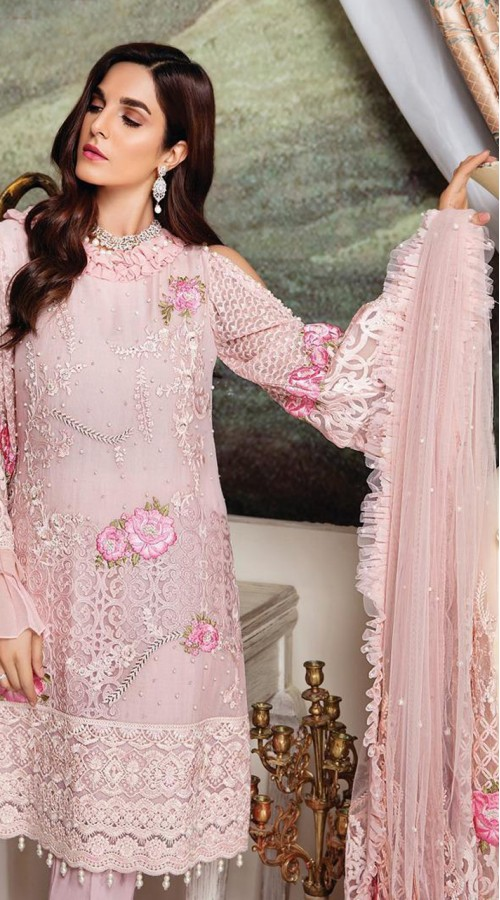 Designer Party wear Georgette Pakistani suit in Light Pink color ROT9430111185
