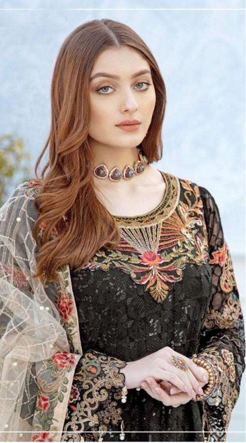 Designer Party wear Georgette Pakistani suit in Black color ROT9430111186