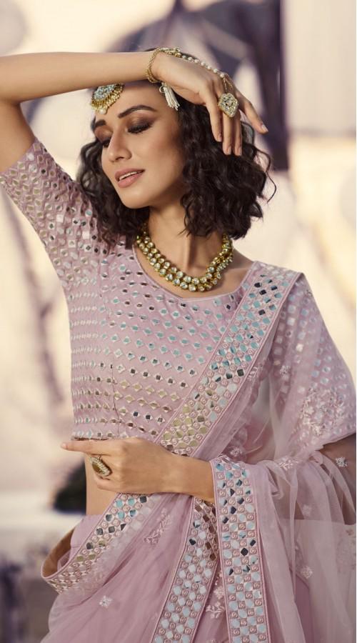 Designer Bridal Wear Organza Lehanga choli in Blush Pink Color ROT9438111246