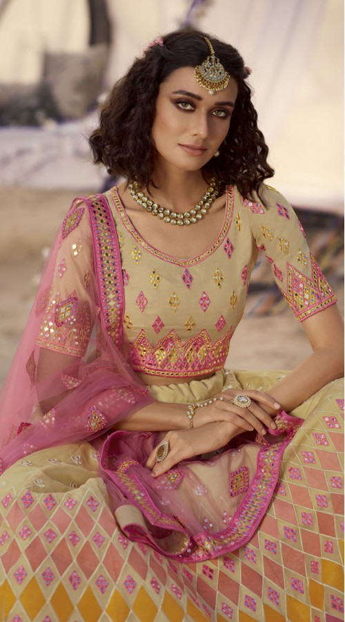 Designer Bridal Wear Organza Lehanga choli in Beige Color ROT9438111247