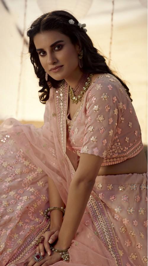 Designer Bridal Wear Organza Lehanga choli in Peach color ROT9438111248