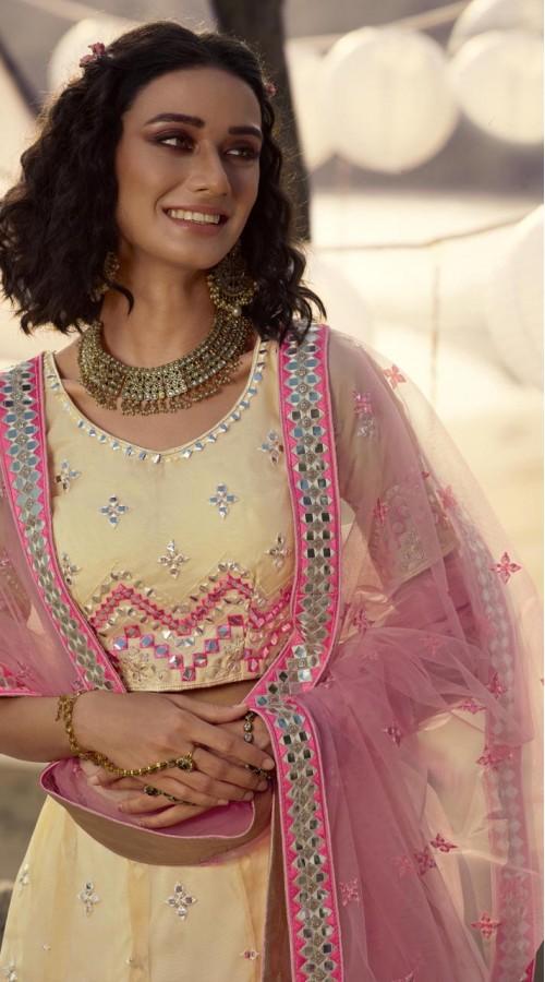 Designer Bridal Wear Organza Lehanga choli in Cream color ROT9438111249