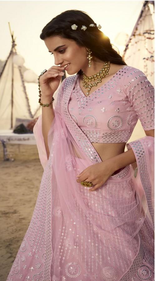 Designer Bridal Wear Organza Lehanga choli in Light Pink color ROT9438111250