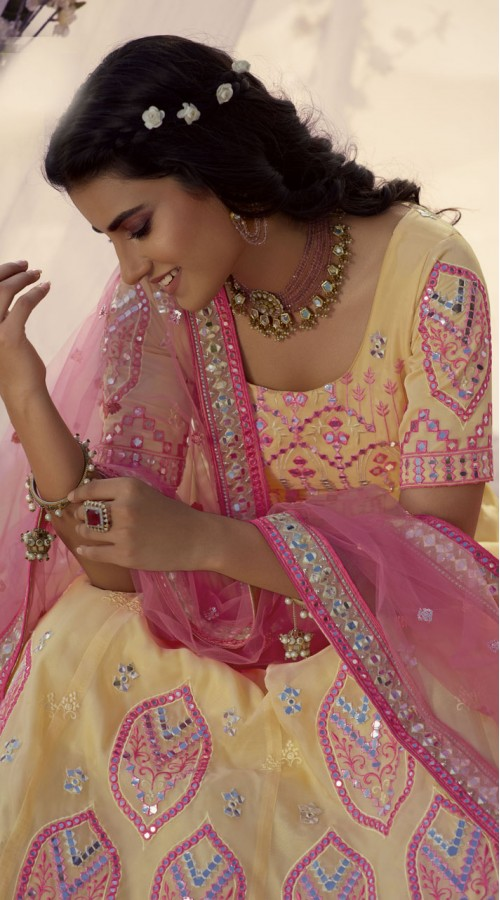 Designer Bridal Wear Organza Lehanga choli in Cream color ROT9438111251