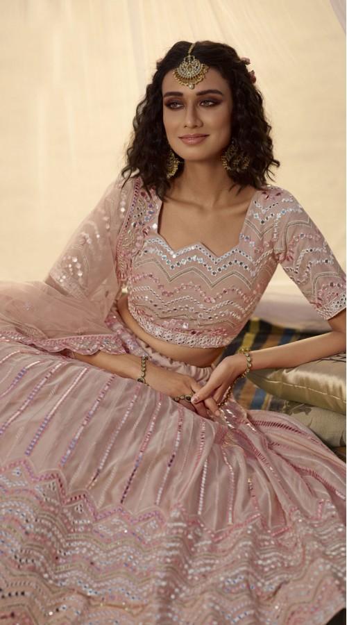 Designer Bridal Wear Organza Lehanga choli in Crepe Pink color ROT9438111252