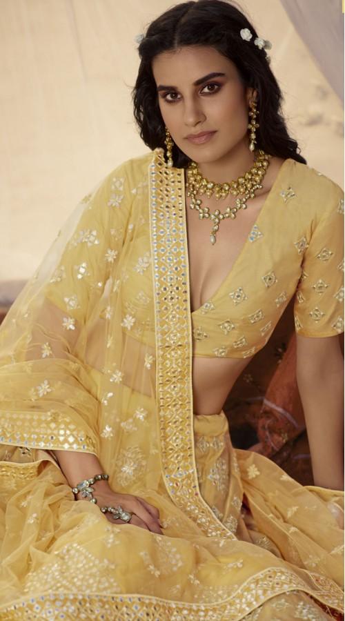 Designer Bridal Wear Organza Lehanga choli in Musterd color ROT9438111253