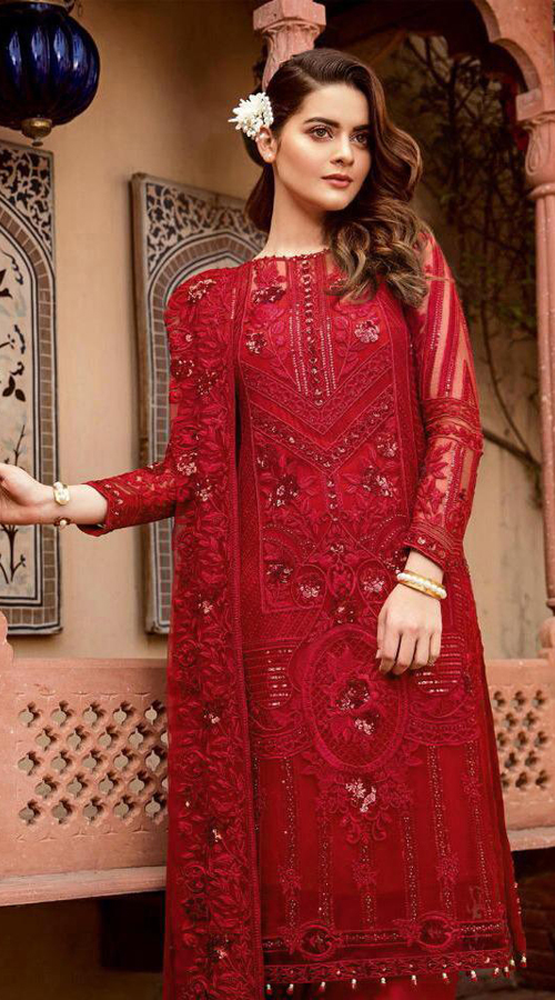 Designer Party Wear Heavy Georgette Pakistani Style Suit in Red color ROT9444111288