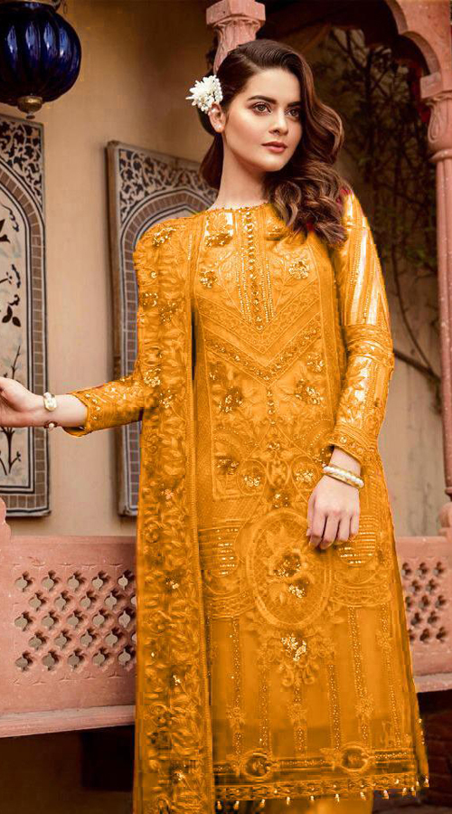 Designer Party Wear Heavy Georgette Pakistani Style Suit in Musterd color ROT9444111289