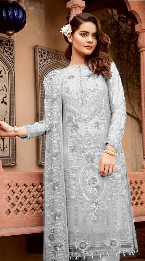 Designer Party Wear Heavy Georgette Pakistani Style Suit in Off White color ROT9444111291