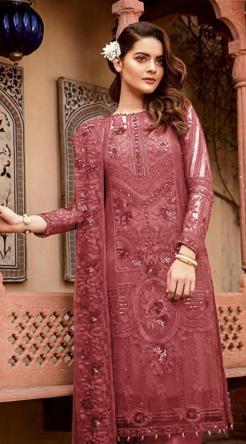 Designer Party Wear Heavy Georgette Pakistani Style Suit in Pink color ROT9444111292